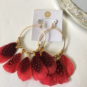 Gorjana hoop earrings red feathers